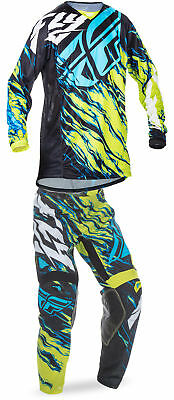 Fly Racing Lime/Blue/Black Mens Youth Kinetic Relapse Dirt Bike Jersey Pant Kit