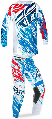 Fly Racing Red/White/Blue Mens Youth Kinetic Relapse Dirt Bike Jersey & Pant Kit