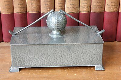 Vintage Civic Pewter Golf Clubs & Ball Desk / Table Box c1930s. Trophy / Gift.
