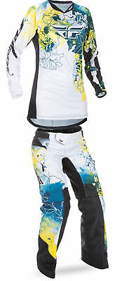 Fly Racing Teal/Yellow/White Womens Youth Kinetic Dirt Bike Jersey & Pant Kit 17