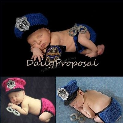 Cop Baby Police Handmade Newborn Girl Boy Crochet Knit Outfit Cap Photo Prop USA