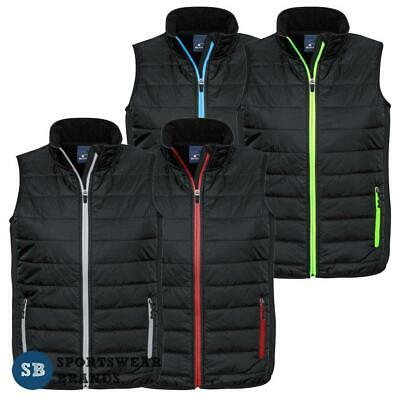 Mens Stealth Vest  Quilted Lightweight Warm Black Contrast Work Casual New J616M