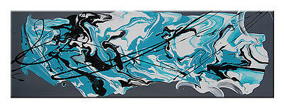 Large abstract Canvas Painting Modern Turquoise Blue Wall Art Ready To Hang