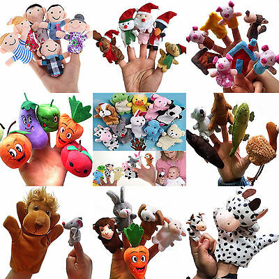 N 6/10 Family Finger Puppets Cloth Doll Baby Educational Hand Cartoon Animal Toy