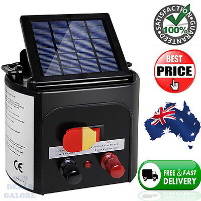 5km Solar Power Electric Fence Energiser Charger Farm Livestock Shock Quality