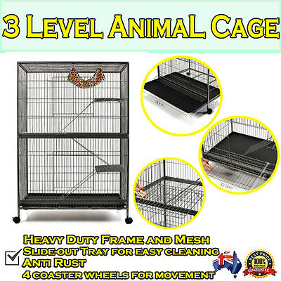 3 Level Cat Pet Ferret Hamster Rat Mouse Bird Cage Aviary Enclosure House Home