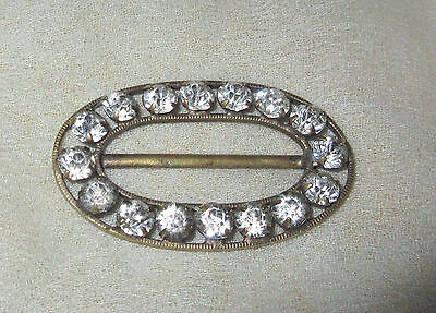 Antique / Edwardian  Art Deco Rhinestone & Brass Belt Buckle  Amazing Find