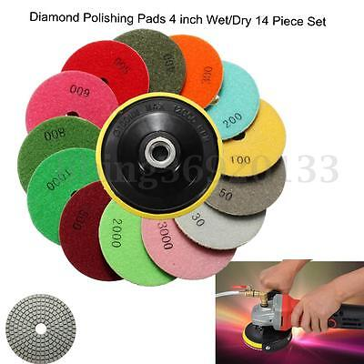 14 Piece Diamond Polishing Pads 4 inch Wet/Dry Set Granite Stone Concrete Marble