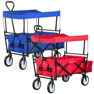 Collapsible Folding Wagon w/Canopy Cart Outdoor Utility Garden Beach Toy Sports