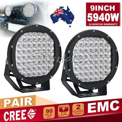 Pair 9inch 704W 7D Lens LED CREE ROUND Driving Spot Work Light HID Offroad 4x4
