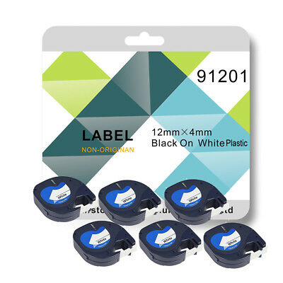 6 x Tape 91201 White Plastic 12mm x 4m Compatible for DYMO LetraTag Label Makers