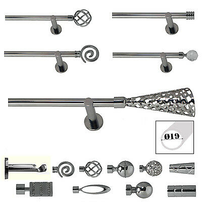 Metal Curtain Pole / Rod Set 19mm Complete in Chrome Modern Support
