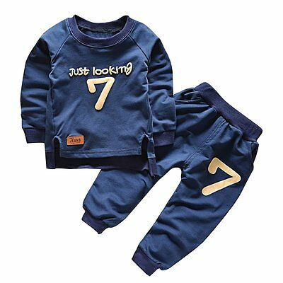 2pcs Toddler Infant Kids Baby Boy Girl T-shirt Top+Long Pants Outfit Clothes Set