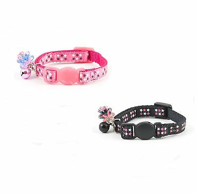 Ancol Luxury Kitten Star  Collar with Bell ,Safety Buckle in Black , Pink