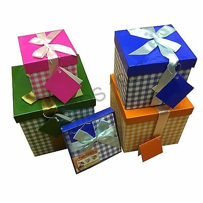 Folded Xmas Gift Ribbon Present Birthday Party Jewellery Check Box Case Bag