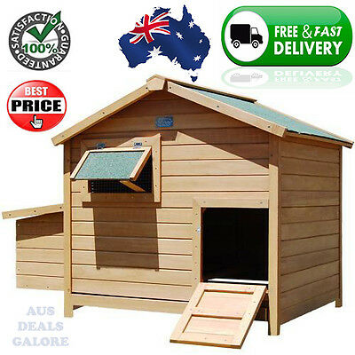 Large Sturdy Deluxe Chicken Chook Coop Hut House Enclosure Pet Home w/ Open Roof