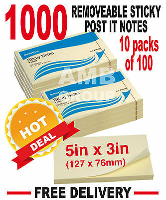 """1000 Remove Sticky Post It Notes 127mm x 76mm 5"""" x 3"""" (10 packs of 100)"""