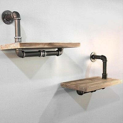 2PC Rustic Industrial DIY Floating Vintage Pipe Shelf Decor Shelving Display
