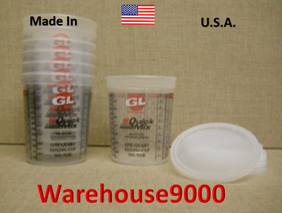 932E SET OF SIX,  GL ONE QUART MIXING CUPS WITH LIDS ~ Storage Containers