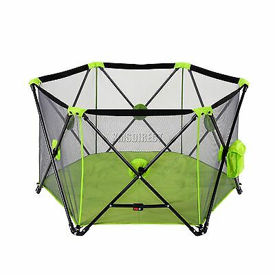 FoxHunter Portable Baby Pop Up Playpen Play Pen Yard With Fitted Playmat Green