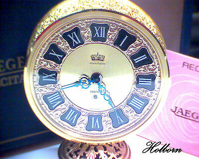 Vintage Jaeger LeCoultre Clock, Recital 8 day Table Alarm Gilt Brass, Swiss 108.