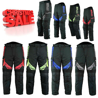 Mens Waterproof Motorbike Motorcycle Cordura Textile CE Armoured Trousers Pant
