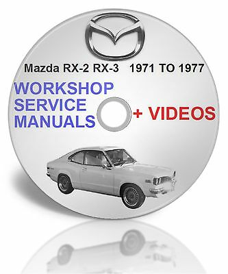 MAZDA RX-2 RX-3 197 TO 1977 WORKSHOP SERVICE MANUALS plus videos On DISC