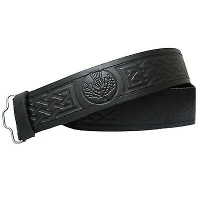 Real Handmade Mens Leather Scottish Thistle Embossed Belt Velcro Fit For Kilt