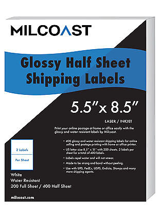 """400 1/2 Sheet Shipping Labels Glossy Waterproof 5.5 x 8.5"""" for UPS FedEx etc"""