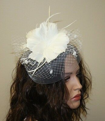 Prom, White Feather Fascinator with Birdcage Veil,  Wedding Accessories