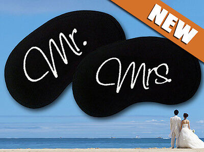 Mr and Mrs Embroidered Sleep Eye Mask Set
