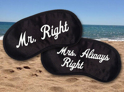 Mr Right and Mrs Always Right Embroidered Silky Satin Sleepwear Eye Mask Set