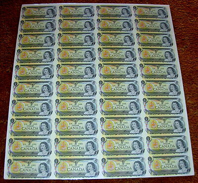 1973 Sheet of 40 Series ECP Canadian One Dollar Bills/ Uncirculated and Uncut