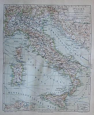 1888 ITALIEN ITALY alte Landkarte antique map Lithographie