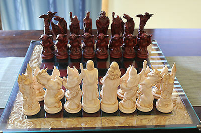 Hand Painted Medieval Ceramic Chess Set