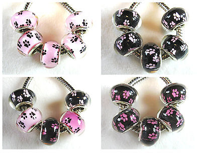 5 Puppy Dog Paw Print Tracks all Pink Acrylic Bead for European Big Hole Jewelry