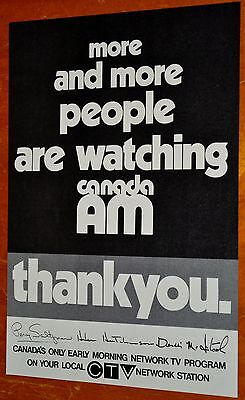 Rare 1974 Ctv Canada Am Tv Show Thank You Ad - Vintage Canadian Television