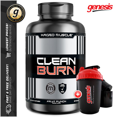 Kaged Muscle CLEAN BURN *90 Capsules* Thermo Fat Burner + 3-in-1 Shaker!