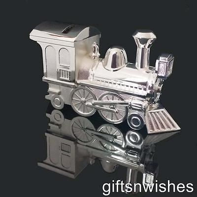 ADORABLE  Engravable Money Box Train Silver Baby Shower Christening Gift