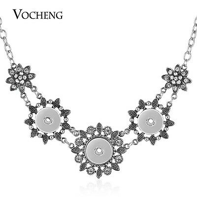 10pcs/lot 18mm Flower Vocheng Snap Charms Necklace Inlaid Crystal NN-517*10