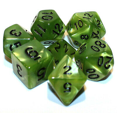 NEW 7 Piece Polyhedral Dice Set - Light Green Marble - RPG Game D&D