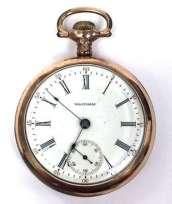 1908 Antique Waltham 17J Wadsworth Referee Gold Filled Open Face Pocket Watch