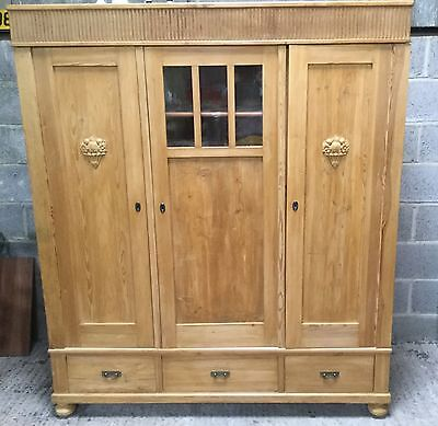 Antique  Three Door Pine Cabinet/bookcase  With Drawers Free Post 150 Miles Dl2
