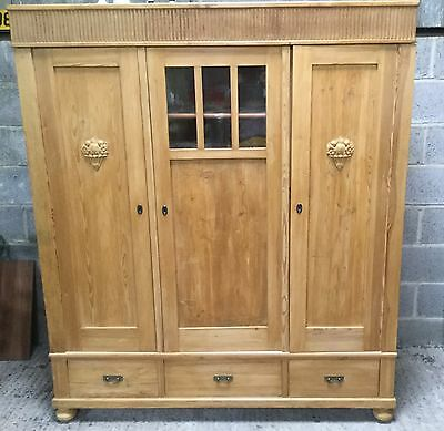 Antique Three Door Pine Cabinet/robe With Drawers