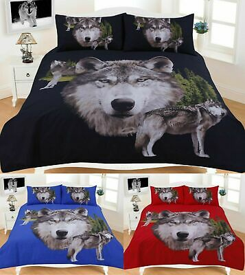 Wolf Duvet Cover Set New 3D Animal Print Quilt Single Double Super King Size New