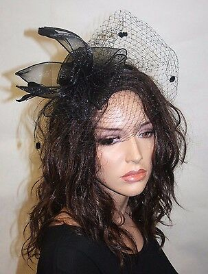 Black Fascinator on a clip, Wedding Accessories, Headband with  feathers