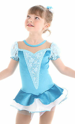 New Competition Figure Skating Dress Elite Xpression 1535 Turquoise Blue 8-10 CM
