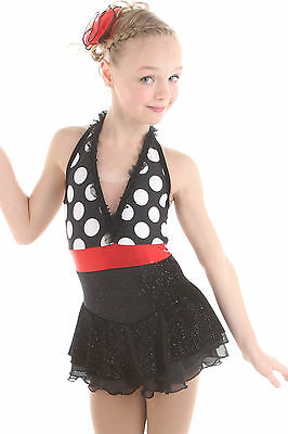 NEW COMPETITION SKATING DRESS Elite Xpression Black Red Bubbles 1516 Adult Small
