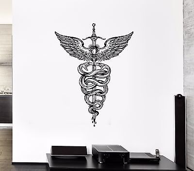 Wall Vinyl Sticker Decal Staff Hermes Mythology Decor Snake Sword Weapon (ed554)