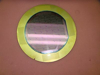 "6"" 150mm Silicon Rare Vintage wafer Mounted On Gold Plated Plate *SW1"
